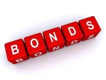 Bonds sign. Red 3d letter blocks spelling word bond on white background Royalty Free Stock Image