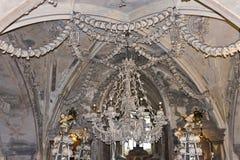 Bone candelabra of the Bone church Kostnice. Kostnice, Bone Church, in Kutna hora (Czech republic) is one of the most well known churches in Czech republic. It stock image