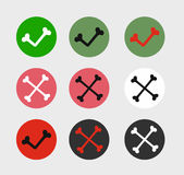 Bone Check Marks Icons. Set of Flat Design Stock Photography