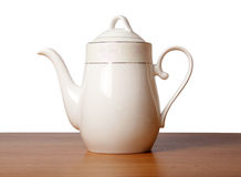 Bone china tea pot. Bone china tea set isolated on white Stock Photography