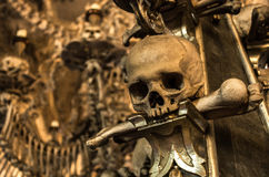 Bone church from the city of Kutna Hora, Czech Republic. This sedlec ossuary is a bone church made of real Human bones and skull from the city of Kutna Hora royalty free stock photos