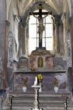 Bone Church Kostnice - front altar. Kostnice, Bone Church, in Kutna hora (Czech republic) is one of the most well known churches in Czech republic. It contains stock image