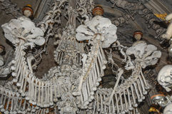 The Bone Church at Kutna Hora - the chandelier. The Ossuary Chapel of All Saints, aka the bone church at Kutna Hora - the chandelier royalty free stock images
