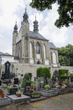 The Bone Church at Kutna Hora - exterior and cemetery. The Ossuary Chapel of All Saints, aka the bone church at Kutna Hora showing the exterior and cemetery royalty free stock image