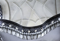 The Bone Church at Kutna Hora - the necklace. The Ossuary Chapel of All Saints, aka the bone church at Kutna Hora. The necklace of skulls and bones royalty free stock image