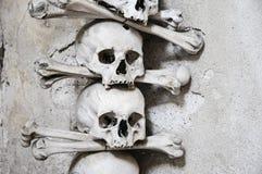 The Bone Church at Kutna Hora - 2 skull and crossbones. The Ossuary Chapel of All Saints, aka the bone church at Kutna Hora - 2 skull and crossbones stock photo