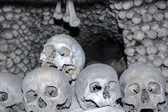 The Bone Church at Kutna Hora - the skulls. The Ossuary Chapel of All Saints, aka the bone church at Kutna Hora - the skulls royalty free stock photos