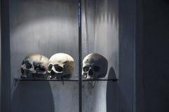 The Bone Church at Kutna Hora - 3 skulls. The Ossuary Chapel of All Saints, aka the bone church at Kutna Hora - 3 skulls stock photography