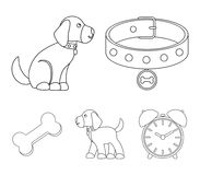 Bone, collar, sit, food.Dog set collection icons in outline style vector symbol stock illustration web. Bone, collar, sit, food.Dog set collection icons in Royalty Free Stock Photos