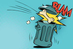 Bone dog flies in the trash. Cartoon comic illustration pop art retro style vector Royalty Free Stock Photos