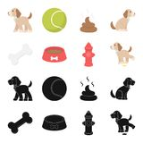 A bone, a fire hydrant, a bowl of food, a pissing dog.Dog set collection icons in black,cartoon style vector symbol. Stock illustration Royalty Free Stock Photo