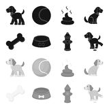 A bone, a fire hydrant, a bowl of food, a pissing dog.Dog set collection icons in black,monochrome style vector symbol. Stock illustration Royalty Free Stock Image