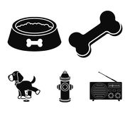 A bone, a fire hydrant, a bowl of food, a pissing dog.Dog set collection icons in black style vector symbol stock. Illustration Royalty Free Stock Images