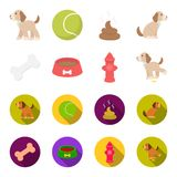 A bone, a fire hydrant, a bowl of food, a pissing dog.Dog set collection icons in cartoon,flat style vector symbol stock. Illustration Stock Images