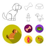 A bone, a fire hydrant, a bowl of food, a pissing dog.Dog set collection icons in outline,flat style vector symbol stock. Illustration Royalty Free Stock Photo