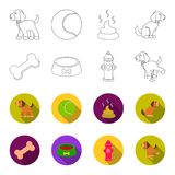 A bone, a fire hydrant, a bowl of food, a pissing dog.Dog set collection icons in outline,flet style vector symbol stock. Illustration Royalty Free Stock Photography