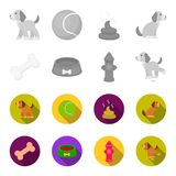 A bone, a fire hydrant, a bowl of food, a pissing dog.Dog set collection icons in monochrome,flat style vector symbol. Stock illustration Stock Photo