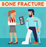 Bone fracture vector character cartoon illustration Stock Photography