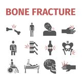 Bone Fractures icons. Treatment. Infographic. Vector illustrations. Bone Fractures icons. Treatment. Vector signs for web graphics Royalty Free Stock Images