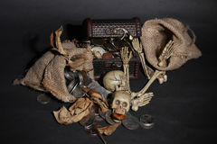 Bone guarding the treasure. Dark and scary things stock image