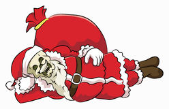 Bone head santa claaus. Bone head wear santa claus costume with side sliping pose Royalty Free Stock Images