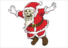 Bone head santa claus. One head santa claus wear santa claus costume flying pose Stock Images