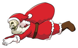 Bone head santa flying. Bone head wearing a Santa Claus costume, fly carrying gift bag Royalty Free Stock Photo
