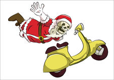 Bone head santa freestyle with scooter. Bone head costume santa claus doing freestyle extreme action using clasic yellow scooter Royalty Free Stock Photo
