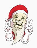 Bone head santa peace pose. Bone head wear santa clause costume smile with peace pose Stock Image