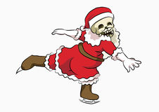 Bone head santa playing ice skating. Bone head wearing a Santa Claus costume, playing skating Royalty Free Stock Photography