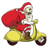 Bone head santa riding scooter. Bone head wearing a santa claus costume riding a scooter yellow, while carrying a sack of gifts Royalty Free Stock Photos