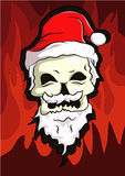 Bone head wear santa hat. And smiling in his face with red flame background Stock Photography