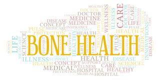 Bone Health word cloud. Wordcloud made with text only stock illustration