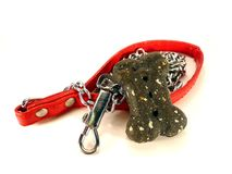 Bone and Leash. Isolated photo of red dog leash and treat Stock Photo