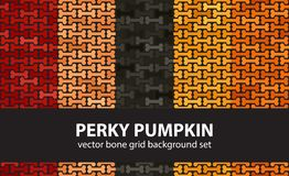 Bone pattern set Perky Pumpkin. Vector seamless backgrounds. Red, peach, black, orange, pumpkin bones on black backdrop Stock Image