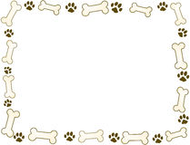 Bone and paw frame. In sepia tones stock illustration