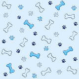 Bone and paw pattern Royalty Free Stock Image