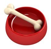 Bone in pet bowl Stock Photos