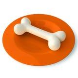 Bone on plate Royalty Free Stock Photo
