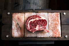 Bone In Rib Eye row Steak on pieces of salt Stock Images