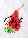 Bone in rib steak watercolor Royalty Free Stock Image