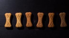 Bone shaped dog cookies or treats, on dark wood background stock image