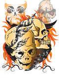 Bone skull fire Stock Photo