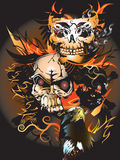 Bone skull fire eagle. Graphic design is a graphic  illustrator Stock Image