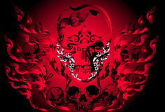 Bone skull fire eagle Royalty Free Stock Image
