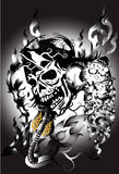 Bone skull fire eagle. Graphic design is a graphic  illustrator Stock Photo