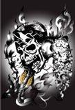 Bone skull fire eagle Stock Photo