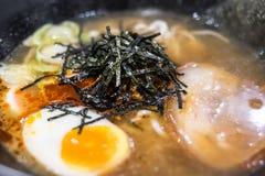 Bone soup Ramen. With Chashu pork and soft-boiled egg Stock Photos