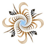 Bone spiral. Spiral made of blue, beige and black segments on white background - fractal royalty free illustration
