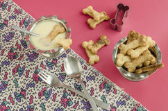 Bone sugar cookies and condensed milk for children's menu Royalty Free Stock Image